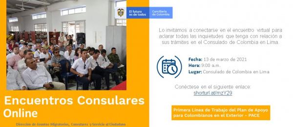 Consulado de Colombia en Lima realizará este 13 de marzo el Encuentro Consular