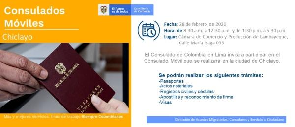 Consulado de Colombia en Lima realizará la jornada móvil en Chiclayo el 28 de febrero