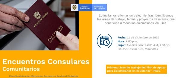 Consulado General de Colombia en Lima realizará el Encuentro Consular Comunitario