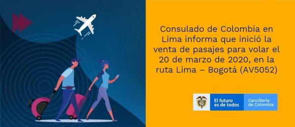 Consulado de Colombia en Lima informa que inició la venta de pasajes para volar el 20 de marzo de 2020, en la ruta Lima – Bogotá (AV5052)